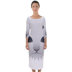 Cat Animal Pet Kitty Cats Kitten Quarter Sleeve Midi Bodycon Dress