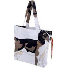 Black White Dog Beagle Pet Animal Drawstring Tote Bag by Sapixe
