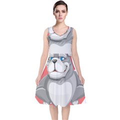 Bulldog Dog Animal Pet Heart Fur V Neck Midi Sleeveless Dress