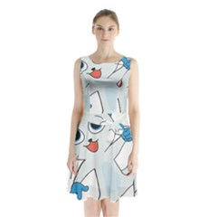Animal Anthropomorphic Sleeveless Waist Tie Chiffon Dress