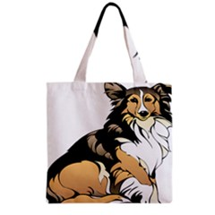 Dog Sitting Pet Collie Animal Grocery Tote Bag by Sapixe