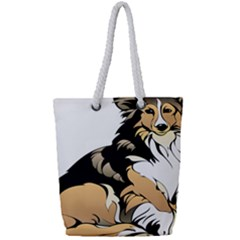 Dog Sitting Pet Collie Animal Full Print Rope Handle Tote (small)