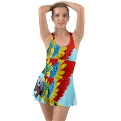 Parrot Animal Bird Wild Zoo Fauna Ruffle Top Dress Swimsuit