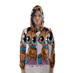 Kitty Cat Big Eyes Ears Animal Hooded Windbreaker (women)