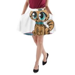 Kitty Cat Big Eyes Ears Animal A Line Pocket Skirt