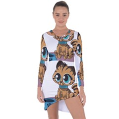 Kitty Cat Big Eyes Ears Animal Asymmetric Cut Out Shift Dress