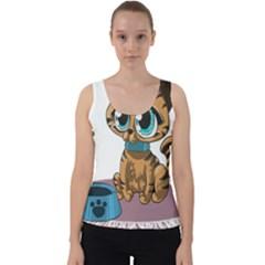 Kitty Cat Big Eyes Ears Animal Velvet Tank Top