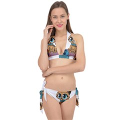 Kitty Cat Big Eyes Ears Animal Tie It Up Bikini Set