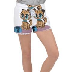 Kitty Cat Big Eyes Ears Animal Women s Velour Lounge Shorts