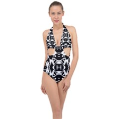 Pirate Society  Halter Front Plunge Swimsuit