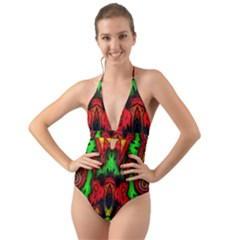 Faces Halter Cut Out One Piece Swimsuit