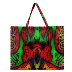 Faces Zipper Large Tote Bag
