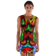 Faces Wrap Front Bodycon Dress