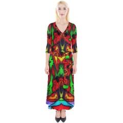 Faces Quarter Sleeve Wrap Maxi Dress