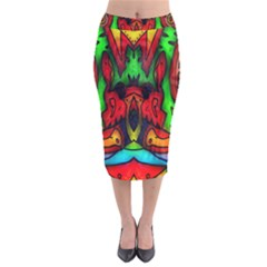 Faces Velvet Midi Pencil Skirt