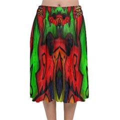 Faces Velvet Flared Midi Skirt