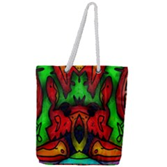 Faces Full Print Rope Handle Tote (large)