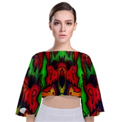 Faces Tie Back Butterfly Sleeve Chiffon Top