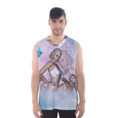 Fairy In The Sky With Fantasy Bird Men s Basketball Tank Top