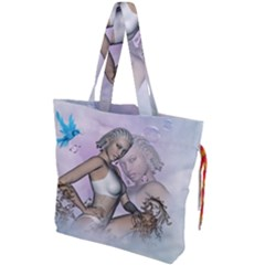 Fairy In The Sky With Fantasy Bird Drawstring Tote Bag by FantasyWorld7