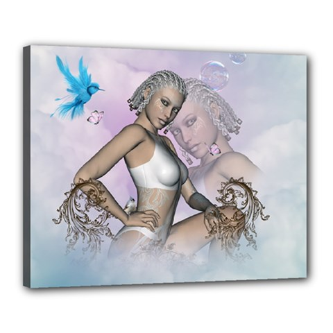 Fairy In The Sky With Fantasy Bird Canvas 20  X 16