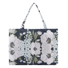 White Vintage Florals Medium Tote Bag