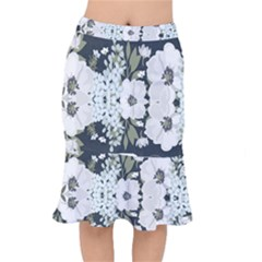 White Vintage Florals Mermaid Skirt