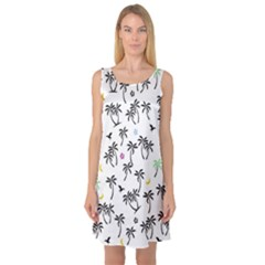 Tropical Pattern Sleeveless Satin Nightdress