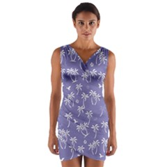 Tropical Pattern Wrap Front Bodycon Dress by Valentinaart