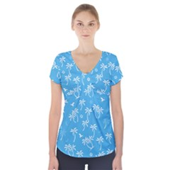 Tropical Pattern Short Sleeve Front Detail Top