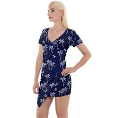 Tropical Pattern Short Sleeve Asymmetric Mini Dress