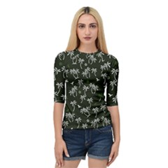 Tropical Pattern Quarter Sleeve Raglan Tee