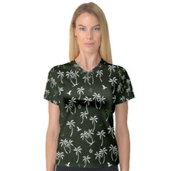 Tropical Pattern V Neck Sport Mesh Tee