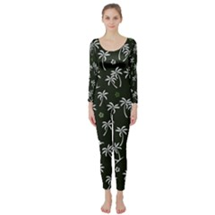 Tropical Pattern Long Sleeve Catsuit