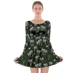 Tropical Pattern Long Sleeve Skater Dress