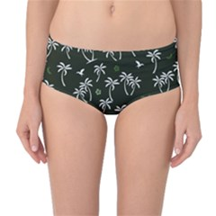 Tropical Pattern Mid Waist Bikini Bottoms