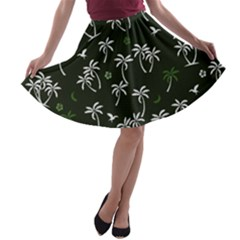 Tropical Pattern A Line Skater Skirt