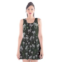 Tropical Pattern Scoop Neck Skater Dress