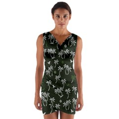 Tropical Pattern Wrap Front Bodycon Dress