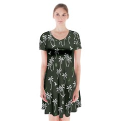 Tropical Pattern Short Sleeve V Neck Flare Dress