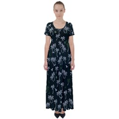 Tropical Pattern High Waist Short Sleeve Maxi Dress