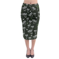 Tropical Pattern Midi Pencil Skirt