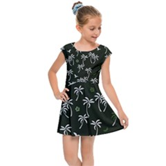 Tropical Pattern Kids Cap Sleeve Dress