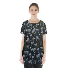 Tropical Pattern Skirt Hem Sports Top