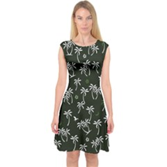Tropical Pattern Capsleeve Midi Dress