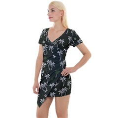 Tropical Pattern Short Sleeve Asymmetric Mini Dress