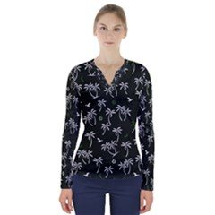 Tropical Pattern V Neck Long Sleeve Top