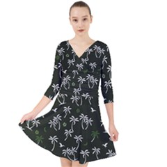 Tropical Pattern Quarter Sleeve Front Wrap Dress