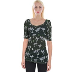 Tropical Pattern Wide Neckline Tee