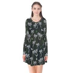 Tropical Pattern Long Sleeve V Neck Flare Dress
